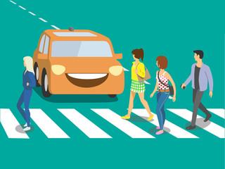 Futuristic self driving car waiting when pedestrians will cross street