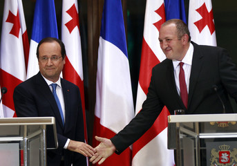 Georgia's President Margvelashvili greets his French counterpart Hollande during their joint news conference in Tbilisi