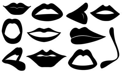 Set of different lips isolated on white