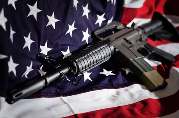 Flag of the USA with rifle