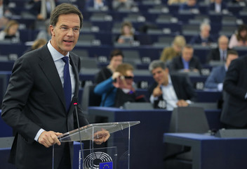 The Netherland's Prime Minister Rutte addresses the European Parliament in Strasbourg