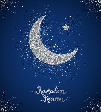 Ramadan Kareem card with crescent and star