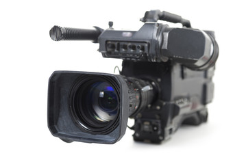 professional video camera for TV productions isolated on a white background