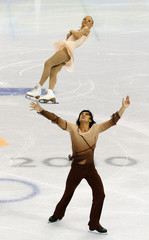 Mukhortova and Trankov of Russia perform during the pairs short programme figure skating event at the Vancouver 2010 Winter Olympics