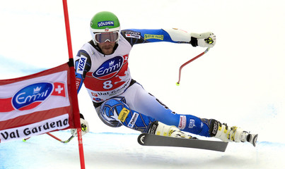 Miller of the U.S. makes a turn on his way to second place during the men's World Cup super-G alpine skiing race in Val Gardena