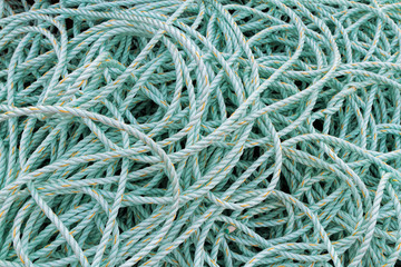 Green marine rope used on boats and ships.