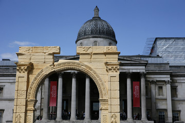 A recreation of the 1,800-year-old Arch of Triumph in Palmyra, Syria, is seen at Trafalgar Square in London