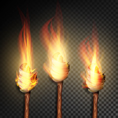 Torch With Flame. Burning In The Dark Transparent Background Realistic Torch With Flame. Vector Illustration