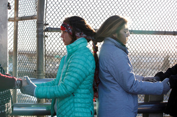 Women of the Boundless Across Borders organization got their hair braided during a bi-national protest called Braiding Borders at the Santa Fe international crossing bridge in Ciudad Juarez