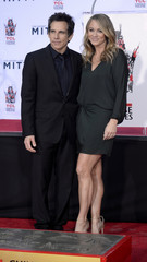 Ben Stiller poses with his wife during a hand and footprint ceremony outside the TCL Chinese Theatre in Los Angeles