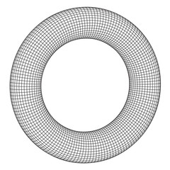 Abstract wireframe torus donut. Vector technology background. Connection design template.