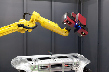 Robotic arm with 3D scanner. Automated scanning.