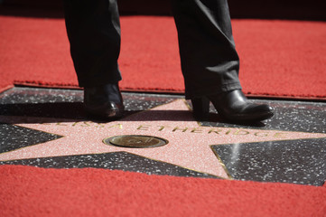 Singer Etheridge stands on her star at the Hollywood Walk of Fame in Los Angeles