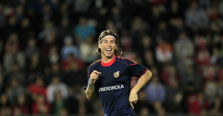 Spain's Ramos reacts during a practice session in Prague
