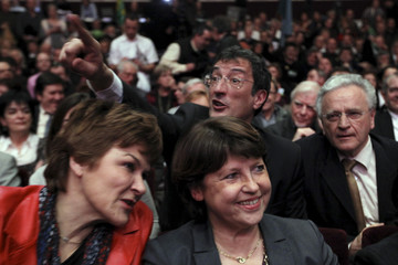 Martine Aubry and Dominique Voynet attend a political rally for the upcoming second round in the regional elections in Nantes
