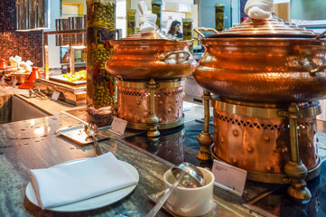 Dubai. Summer 2016. Breakfast at the hotel . Breakfast buffet. Buffet catering food arrangement on table.