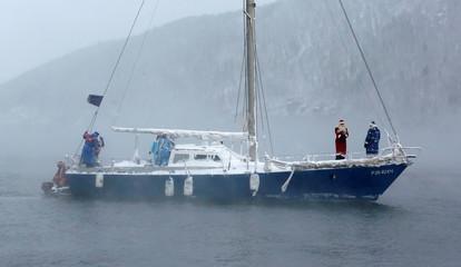 Members of yacht club mark end of sailboat season outside Krasnoyarsk