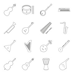 set of musical instruments symbols in line