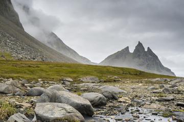 Vestrahorn mountain peaks. Stokksnes Peninsula. Iceland near Hofn.