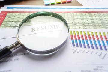 Resume on office desktop