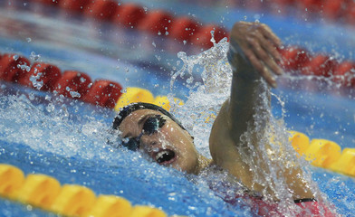 Jakobos of Hungary competes at the women's 4x200 m frestyle final during the 2012 European Swimming Championships in Debrecen