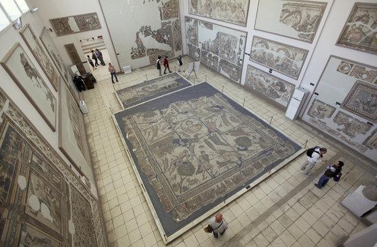 The 5th-century Yakto mosaic is displayed at the Antakya Archaeology museum in Antakya