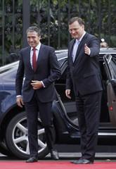 Czech PM Necas welcomes NATO Secretary General Rasmussen  in Prague
