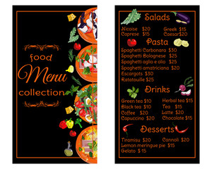 Vertical restaurant menu with hand drawn dishes and ingredients. Food menu collection.