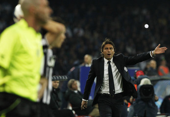 Juventus Conte reacts during their Italian Serie A soccer match against Napoli in Naples