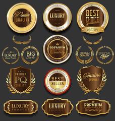 Golden luxury badges retro design collection