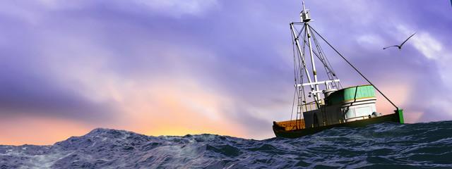 illustration of fishing boat sailing