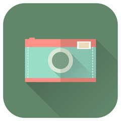Flat style camera with long shadows. Vector icon illustration.