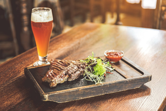 Spicy meat with light cold beer