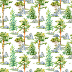 Floral seamless pattern of a pine, spruce,stone and deciduous tree.Watercolor hand drawn illustration.White background.
