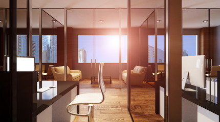 Office interior. 3D rendering