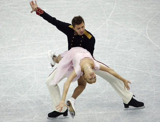 Bobrova and Soloviev of Russia perform during the ice dance short dance competition at the ISU Grand Prix of Figure Skating Final in Sochi
