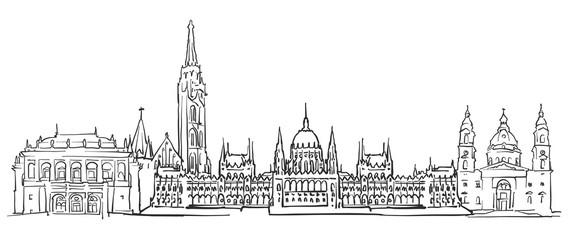 Budapest Hungary Panorama Sketch