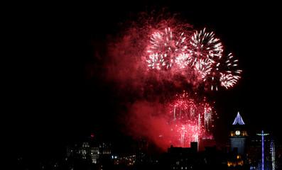 Fireworks explode over Edinburgh Castle during the Hogmanay celebrations in Edinburgh, Scotland