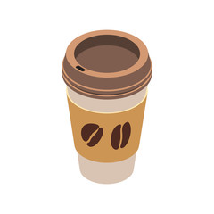 Disposable coffee cup icon on white background