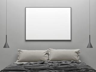 Interior concept bedroom, white poster background, 3d illustration