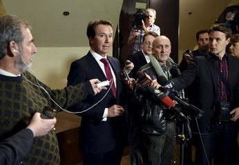 Liberal Finance Critic Scott Brison speaks following Canada's Finance Minister Joe Oliver's speech at the Economic Club of Canada at a hotel in Toronto