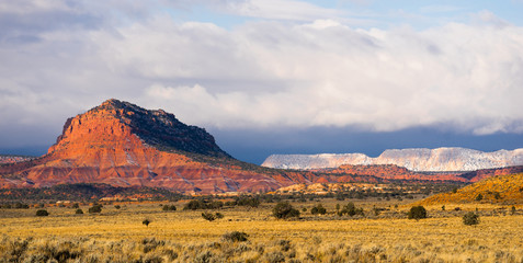 Storm Brewing Sun Hits Red Rock Walls Grand Staircase-Escalante National Monument