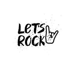 Let's Rock Brush Ink Lettering.