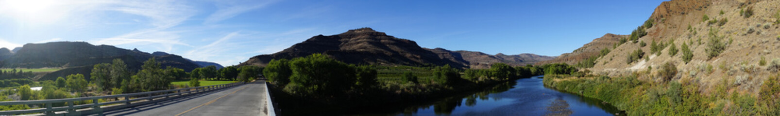 Wide Panoramic View John Day River Oregon Highway Bridge