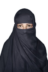 Woman in niqab traditional veil isolated on white.