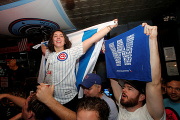Fans of National League baseball team Chicago Cubs gathered to watch the game at Kelly's bar celebrate their Major League Baseball World Series game 7 victory against American League's Cleveland Indians in Manhattan, New York U.S.