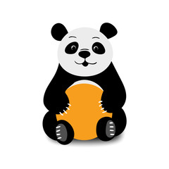 Baby funny cartoon vector bear panda sitting