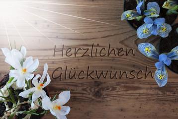 Sunny Crocus And Hyacinth, Herzlichen Glueckwunsch Means Congratulations
