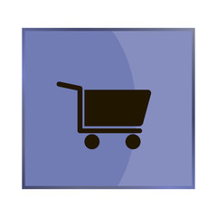 Shopping cart. Vector icon - trolley for goods shows the presence of a store, hypermarket, outlet