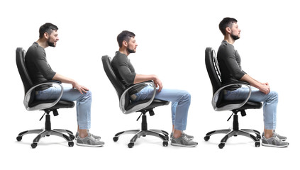 Rehabilitation concept. Collage of man with poor and good posture sitting in armchair on white background Wall mural